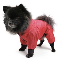 Dog rain overall red, size 2XL