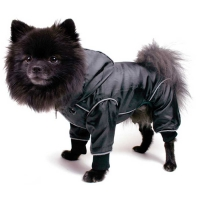 Dog rain overall black with reflectors, size L