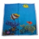 Fish print on scarf - Widht 100 cm, Length 100 cm.